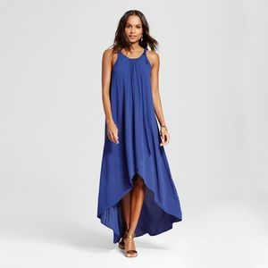 Wrap front maxi dress with high low cut.